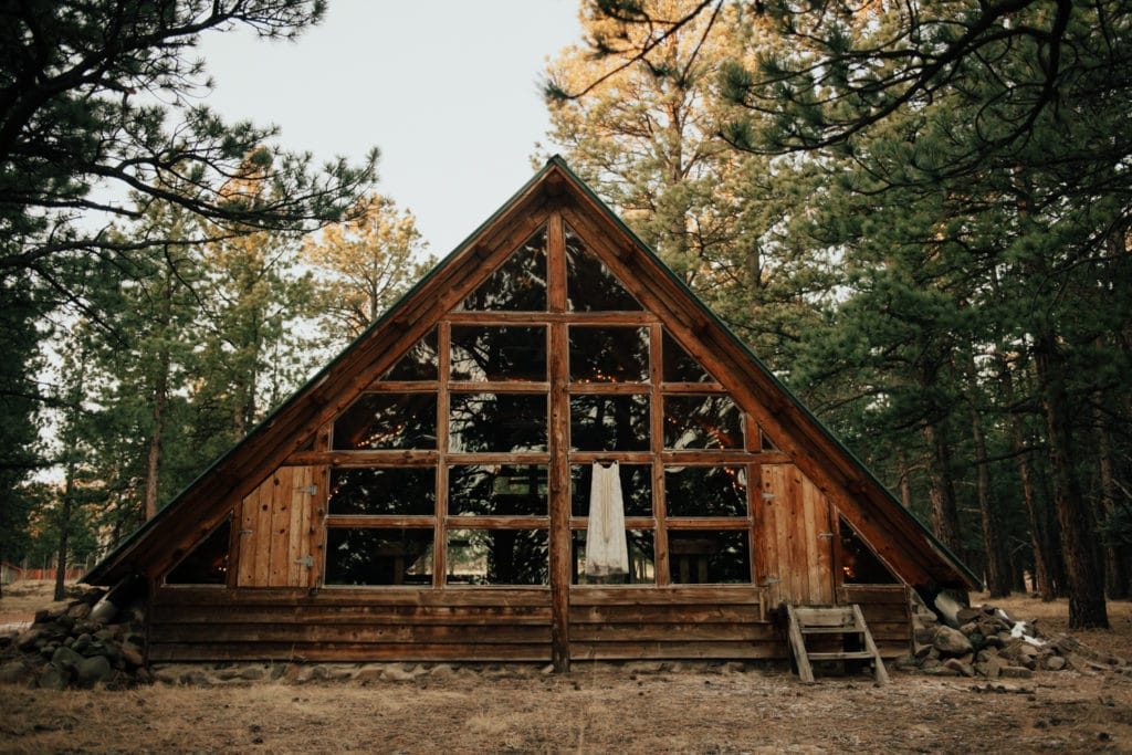 A-frame chapel in the mountains