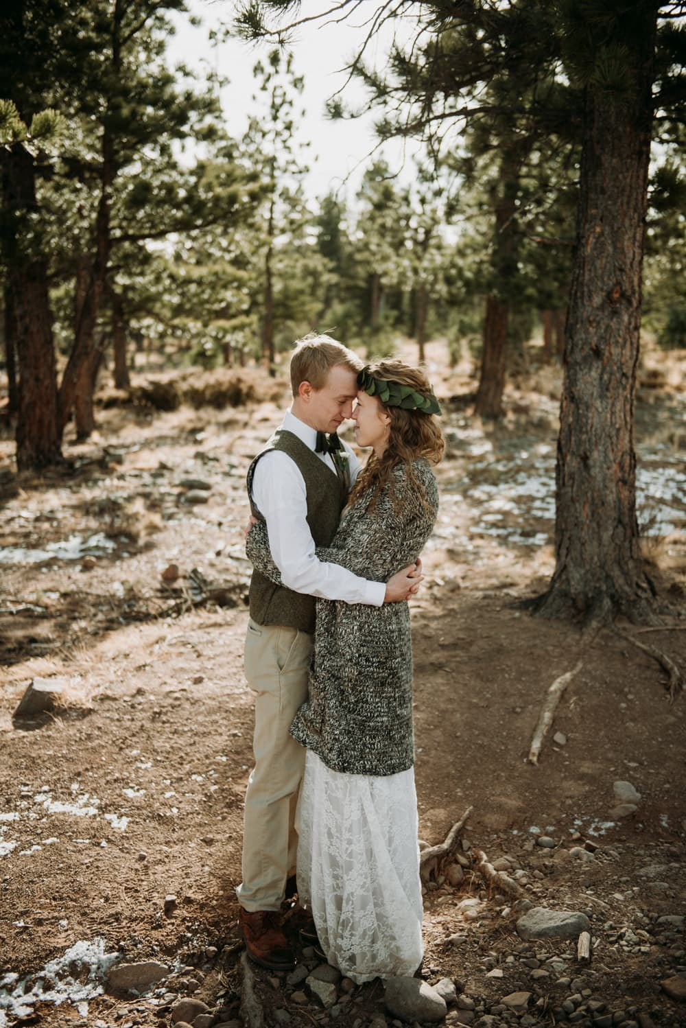Intimate wedding in Westcliffe, Colorado. Tucked away in the mountains at a chapel in a Colorado forest of evergreens.