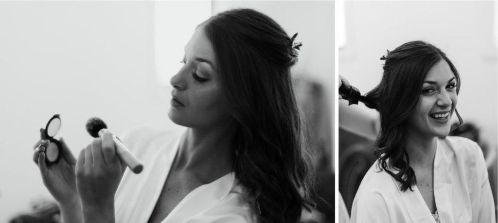 Black and white photos of a bride getting ready for her wedding ceremony at the Wilds Venue in Bloomington, Indiana in the bridal suite.