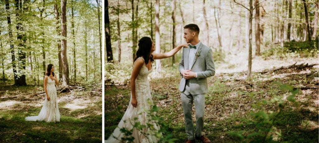The sweetest first look in the forest before a wedding ceremony at the Wilds Venue in Bloomington, Indiana.