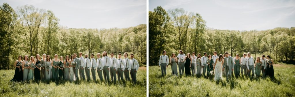 Bridal party walking through a field at the Wilds Venue
