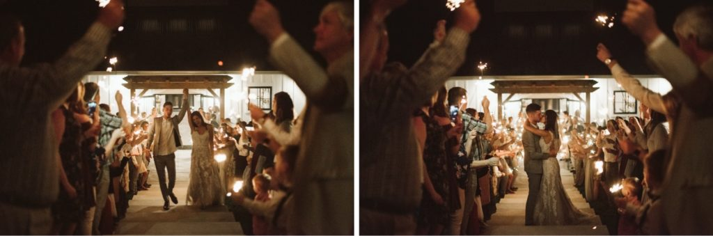 Warm colored sparkler exit after an emotional and beautiful intimate wedding ceremony in Bloomington.