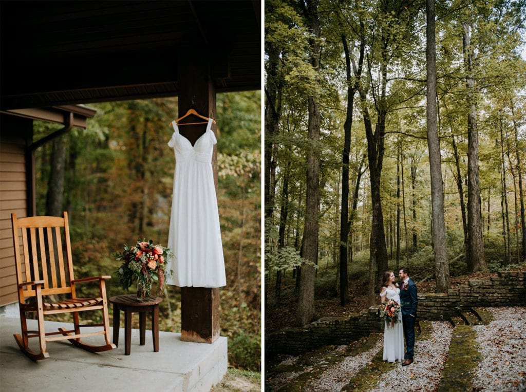 Side by side images of a wedding dress hanging on a cabin and the bouquet where the girls were getting ready in the morning. New bride and groom are hugging and looking at each other in the forest during fall in Brown County State Park in Indiana.