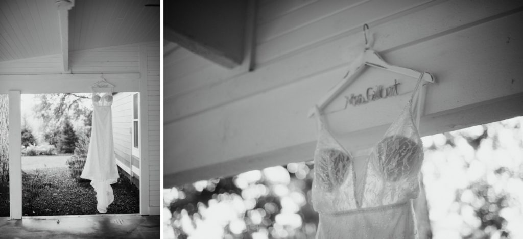 A wedding dress hanging on a porch before a summer wedding at Mustard Seed Gardens in Indiana.