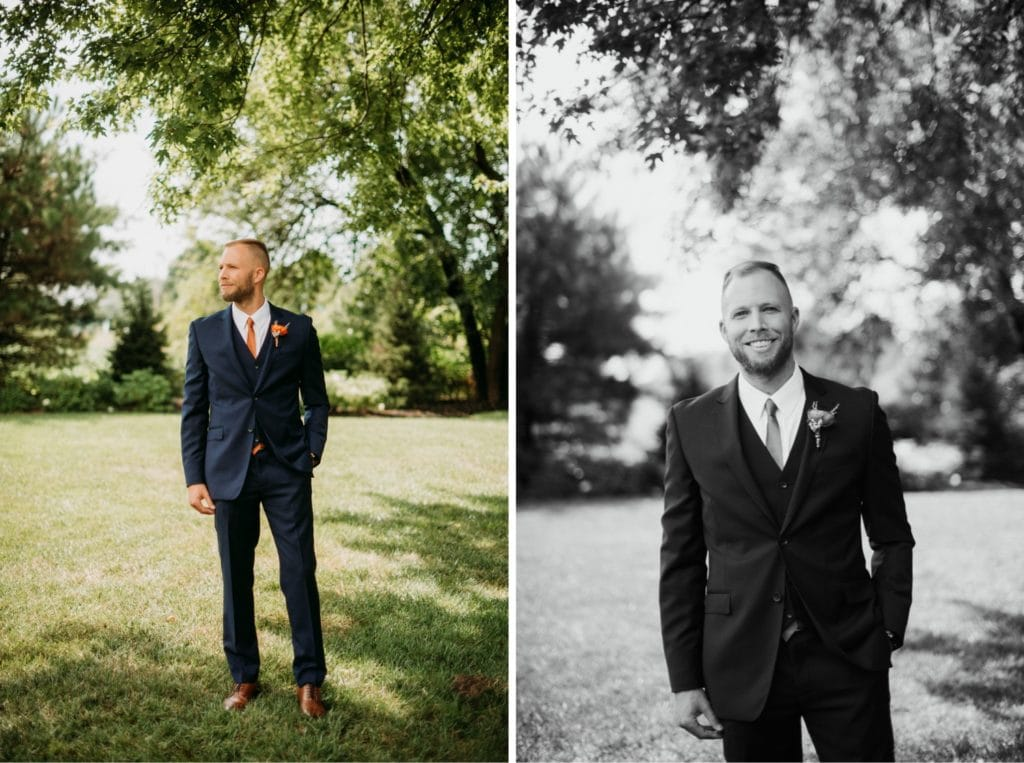 Portraits of a groom before the wedding ceremony at Mustard Seed Gardens. The groom is wearing a navy suit with an orange tie and boutonniere.