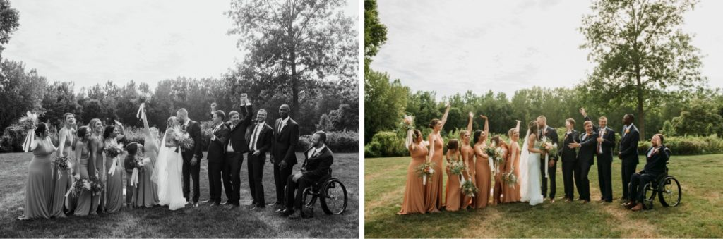 Summer bridal party at Mustard Seed Gardens