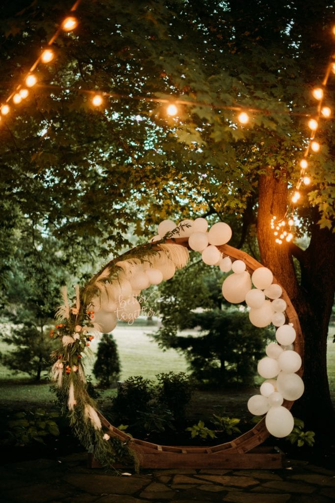 Amazing balloon arch that says better together at Mustard Seed Gardens