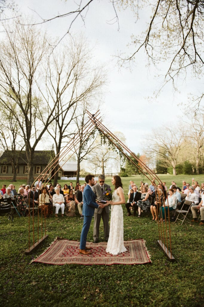 wedding ceremony in the backyard of an Airbnb in Franklin Tennessee