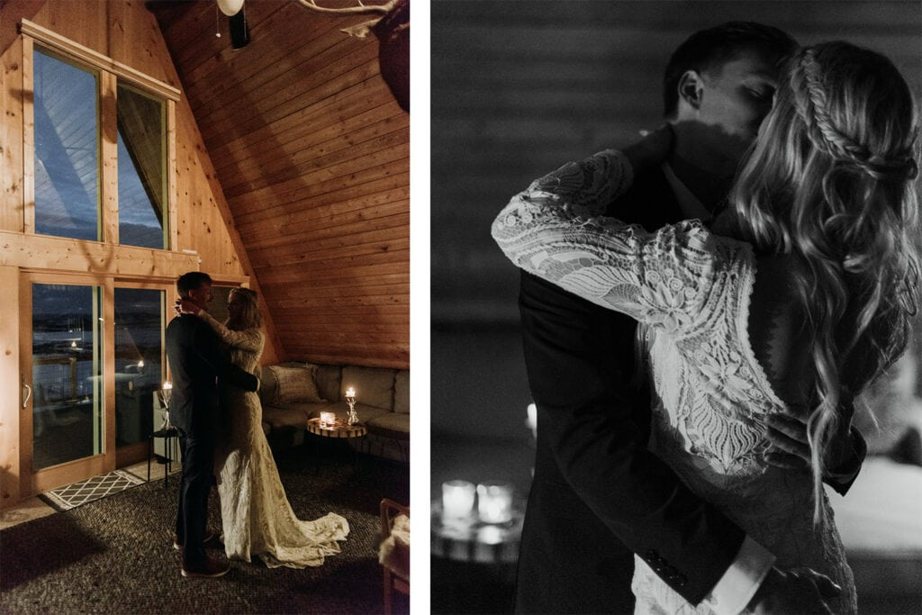 married couple sharing their first dance by candlelight at their Airbnb wedding in Colorado